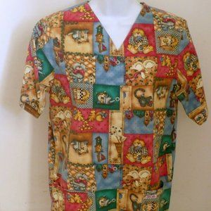 ❤️ CHEROKEE  Scrub Top Kitty Cat Patchwork Small